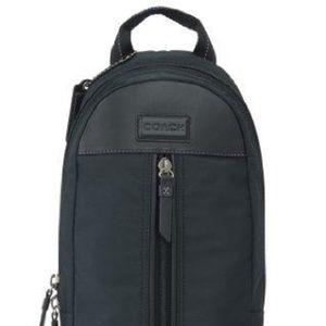 New Coach Black Leather and Nylon Varick Sling Bag